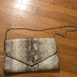Handbags - Faux Python Clutch w Detachable Chain  Strap